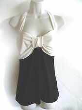 WHITE HOUSE BLACK MARKET  HALTER  TOP BLK AND WHITE WOMENS SIZE SMALL # 369