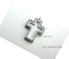 1pcs  Rhinestone Cross floating Memory Glass locket fits floating charms JK26