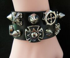 Leather Cross cuff wristband bracelet goth punk celtic emo