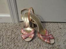 WOMENS MARC JACOBS ROSE,LAVENDER,WHITE,SALMON SATIN ANKLE BUCKLE HEELS SZ-38 1/2