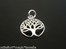SMALL 925 Sterling Silver 12mm High Shine Tree Of Life Pendant Charm