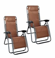 1 Pair brown Zero Gravity Lounge Chairs Recliner Outdoor Beach Patio Pool n