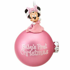 Disney Store Baby's First 1st Christmas Holiday MINNIE MOUSE Pink Ornament GIRL