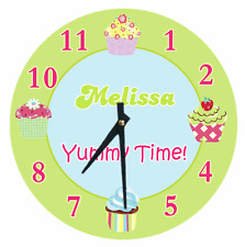 Personalized Clock Any Name CUPCAKE YUMMY TIME So Cute Girls Bedroom Decor Gift