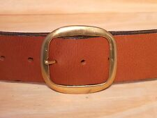 Brass Oval 2 Inch Leather Jean Width Belt Waist Size Mens Ladies Black Brown Tan