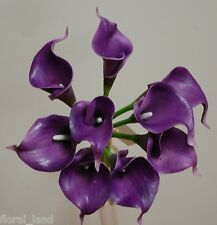 LATEX REAL TOUCH FLOWER BOUQUETS CALLA LILY LILIES WEDDING BOUQUET PURPLE