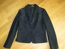 Ladies Company Ellen Tracy Black Floral Applique Boiled Wool Jacket Size 12