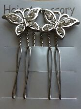A Pretty Silver Diamanté Butterfly Design Hair Comb For Wedding/Bride/Prom