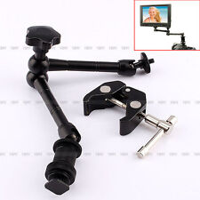 "11"" Inch Articulating Magic Arm + Super Clamp Crab Plier Clip for Camera DSLR"