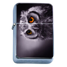 Windproof Refillable Flip Top Oil Lighter Owl D2 Wise Bird Flying Aviary Animal