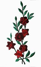 "10"" Dark Red Wild Flower Embroidery Iron On Applique Patch"