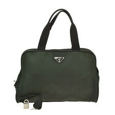 tm3180 Authentic Vintage PRADA Hand Bag Nylon Green Business Briefcase Logos