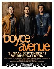 BOYCE AVENUE 2016 PORTLAND CONCERT TOUR POSTER - Pop/Alternative Rock Music