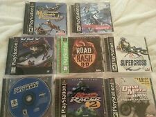 LOT OF 8 SUPERCROSS AND MOTOCROSS AND BMX AND ROAD RACING PLAYSTATION 1