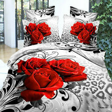 Leopard Rose Doona/Duvet/Quilt Cover Queen Szie Bed Linens Set Pillow Cases