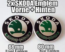 2x SKODA Genuine Vorne+Hinten EMBLEM 90+80mm fur FABIA OCTAVIA SUPERB ROOMSTER