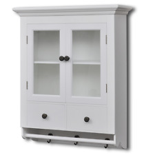White Wall Cabinet Glass Door Wooden Kitchen Hooks Mugs Towels Drawers Shelves
