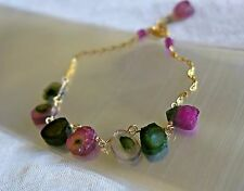 "Handcrafted Watermelon Tourmaline Pink Green 14K Gold Filled Bracelet 7"" Unique"