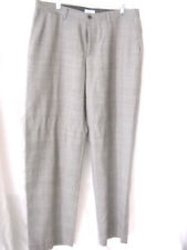 MARC ECKO mens pants 36x32 flat front gray plaid/check wool/polyester blend NWOT