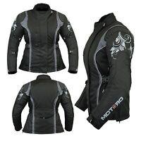 Ladies Women Motorcycle Motorbike Waterproof Cordura Jacket collection ALL BLACK