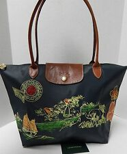 Longchamp France Large Gray Autour De Ha Long Embroidered Nylon Leather Tote Bag