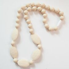 Ivory Oval&Round Silicone Teething Breastfeeding Necklace Chewable Beads 3216