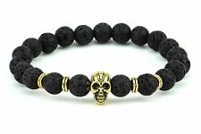 Natural Real Lava Stone Skull Good luck Protective Bracelet  fits all Mens women