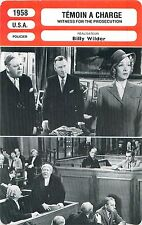 FICHE CINEMA FILM USA TEMOIN A CHARGE/WITNESS FOR THE PROSECUTION Billy Wilder