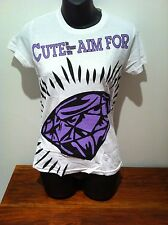 CUTE IS WHAT WE AIM FOR White Diamond T-SHIRT NEW OFFICIAL SIZE Girls Small