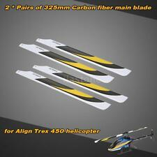 2 Pairs Carbon Fiber 325mm Main Blades for Align Trex Electric 450 Heli U0C4