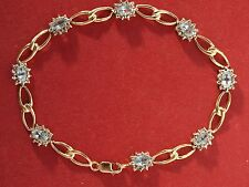 10ct Yellow Gold Aquamarine Diamond Bracelet