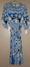 "NWT  ""TRES JOLIE"" BLUE FLORAL DRESS WOMEN'S SIZE MEDIUM  MSRP $248 TIE WAIST"