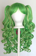 20'' Lolita Wig + 2 Pig Tails Set Lime Green, Blonde Mixed Blend Gothic Sweet