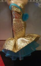 BARBIE GOLD & BLUE MERMAID GOWN 2013 Happy New Year Holiday Hostess Doll