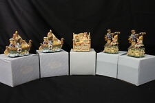 """Set of 5 NEW """"Heart Tugs"""" by San Francisco Music Box Company Musical Figurines"""