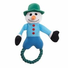 Grriggles Snowtime Snowman Tug Blue Rope Squeaker Christmas Holiday Dog Toy