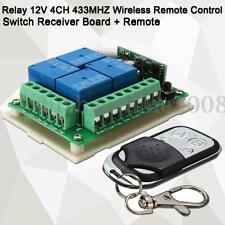 RF 433MHZ Relais 12V 4-CH Sans Fil Télécommande Interrupteur Récepteur Board