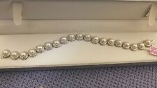 Pearls Diamonds and Sterling Silver Bracelet   Perfection!!