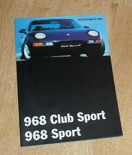 Porsche 968 Sport & Club Sport Folleto 1995 - 968 Cs Coupe mercado del Reino Unido