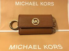 NWT MICHAEL MICHAEL KORS FULTON PEBBLED LEATHER TRIFOLD KEY CASE IN ACORN