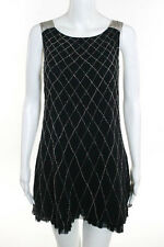Alice + Olivia Black Silk Beaded Embellished Chain Strap Dress Size Medium