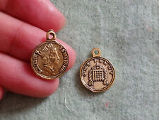 20 old English penny charms pendant beads antique gold wholesale bulk UK