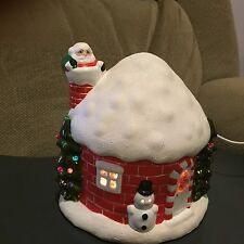 Vintage Ceramic Colorful Light-Up Christmas House-- Chimney Santa and Snowman