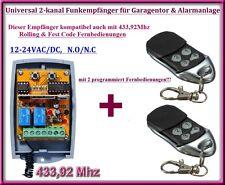 Funkempfänger SET 433,92Mhz 12-24V + 2 Fernbedienung für Garagentor, Alarmanlage