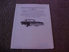 1966 Chrysler Imperial factory cost/dealer sticker prices for car & options $
