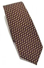 NWT $205 ERMENEGILDO ZEGNA Mens Tie WOOL Brown With Camel Outlined Paisleys