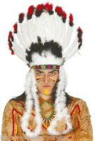 Mens Ladies Indian Chief White Feather Headdress Fancy Dress Costume Outfit Hat