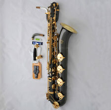 New TAISHAN Baritone Saxophone Black nickel Bari Sax Gold BELL Low A Keys +Case