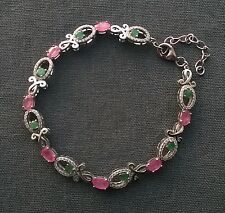 Elegant 925 Sterling silver pink Ruby & Columbian Emerald dress bracelet 8-9""