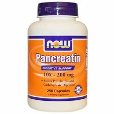Now Foods, Pancreatin, 10X - 200 mg, 250 Capsules, Digestive Support